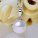 Gorgeous White 9 - 11mm Round Freshwater Natural Pearl Pendants