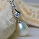 Gorgeous White 9 - 10mm Drop Freshwater Natural Pearl Pendants