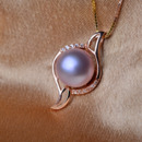 Elegant Purple 12 - 13mm Off-Round Freshwater Natural Pearl Pendants
