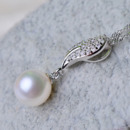 Inexpensive White Round 9mm Freshwater Natural Pearl Pendants