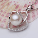 Elegant White Round 10.5-11mm Freshwater Natural Pearl Pendants