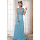 V-Neck Chiffon Floor Length Sheath Bridesmaid Dresses for Spring