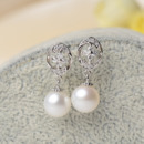 Discount White 8.5-9mm Round Freshwater Natural Pearl Earring Set