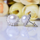 Elegant White 8.5-9mm Off-Round Freshwater Natural Pearl Earring Set