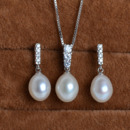 White Drop 8.5-9mm Freshwater Natural Pearl Earring Set and Pendant