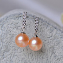 Inexpensive White/ Pink Round/ Drop Freshwater Natural Pearl Earring Set