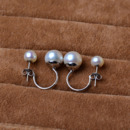 Cute Golden/ Silver Off-Round Freshwater Natural Pearl Earring Set