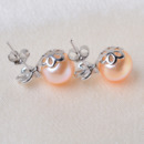 White/ Purple/ Pink Off-Round Freshwater Natural Pearl Earring Set