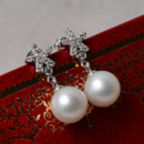 Inexpensive White Round 8.5-9mm Freshwater Natural Pearl Earring Set