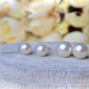 White/ Pink Round 8-9mm Freshwater Natural Pearl Earring Set