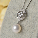 White 8.5-9mm Round Freshwater Natural Pearl Earring and Pendant Set