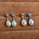 Inexpensive Cute White 8mm Drop Freshwater Natural Pearl Earring Set
