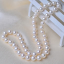 Gorgeous White 7.5-8.5mm Freshwater Off-Round Bridal Pearl Necklaces