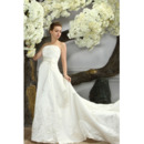 Custom Simple Chapel Train Strapless Satin A-Line Wedding Dresses