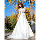 Elegant Vintage Satin A-Line Strapless Sweep Train Wedding Dresses
