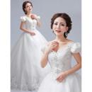 Discount V-Neck Short Sleeves A-Line Floor Length Wedding Dresses