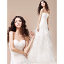 Tiered Skirt Organza Sweetheart Sweep Train A-Line Wedding Dresses