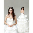 Tiered Skirt Organza Sweetheart Floor Length Wedding Dresses for Spring