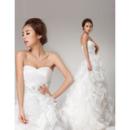 Custom Ruffle Sweetheart Organza A-Line Brush Train Wedding Dresses