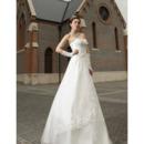 Custom Vintage A-Line Satin Organza Strapless Floor Length Wedding Dresses
