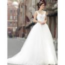 Affordable Elegant Straps A-Line Organza Sweep Train Wedding Dresses