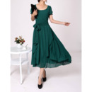 Chiffon Short Sleeves Tea Length Mother of the Bride/ Groom Dresses