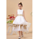 New Style Pick-Up Skirt Tea Length Satin First Communion Dresses