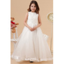Discount A-Line Organza Satin Ankle Length First Communion Dresses