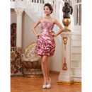 Affordable Elegant Column Strapless Short Taffeta Homecoming Dresses