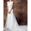 Discount Custom A-Line Sweetheart Chapel Train Satin Wedding Dresses