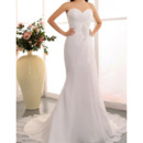 2018 New Sheath Sweetheart Chapel Train Chiffon Wedding Dresses