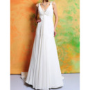 Sexy Empire V-Neck Sleeveless Sweep Train Chiffon Wedding Dresses