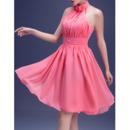 Custom A-Line Halter Short Chiffon Pleated Homecoming Dresses