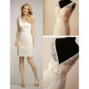 Affordable V-Neck Mini Lace Short Reception Wedding Dress with Belt