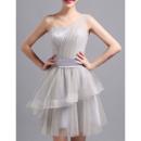 Elegant One Shoulder Sleeveless Short Satin Tulle Cocktail Dresses