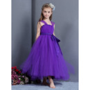 Custom Ball Gown Straps Tea Length Tulle Little Girls Party Dresses