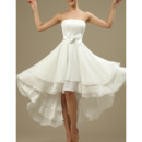 Casual Strapless High-Low Short Chiffon Reception Wedding Dresses