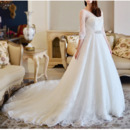 Luxurious A-Line Cathedral Train Wedding Dresses with Tulle Sleeves