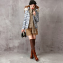 Women's Fashion Fall Winter Fit Printed Hooded Down Coats Parkas