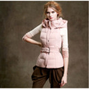 2018 Women's Fashion Winter Fit Pink Hooded Sleeveless Down Vests Coats