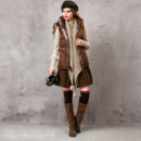 Designer Women's Casual Winter Fit Printed Hooded Short Down Vest Coat