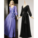 Elegant V-Neck Long Chiffon Black Mother Dresses with Long Sleeves