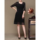 2018 New Knee Length Lace Pleated Mother Dresses with Half Sleeves
