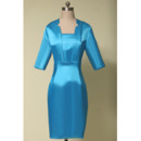 Discount Column Knee Length Satin Mother Dresses with 3/4 Long Sleeves