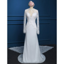 Affordable Chiffon Wedding Dresses with Long Lace Sleeves and Train