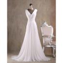 Custom A-Line V-Neck Court Train Chiffon Fringe Wedding Dresses