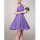 Sexy A-Line Halter Sleeveless Mini/ Short Chiffon Bridesmaid Dresses