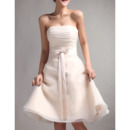 Custom A-Line Strapless Mini Organza Lace-Up Bridesmaid Dresses