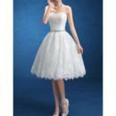 Custom Ball Gown Strapless Knee Length Lace Short Wedding Dresses