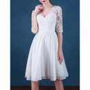 Inexpensive V-Neck Short Chiffon Wedding Dresses with Half Sleeves